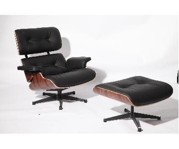 Classic Lounge Chair & Ottoman in Black