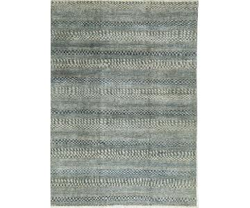 Indo Collection Damask Rug in Silver/Teal Blue