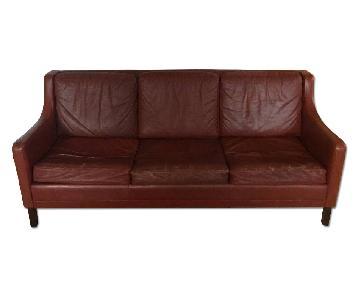 Borge Mogensen Style Danish Leather Sofa