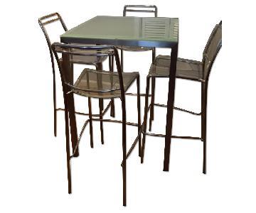 Custom Glass Top Table w/ 4 Philippe Starck Acrylic Chairs
