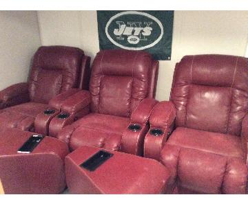 Red Leather Home Theater Seats