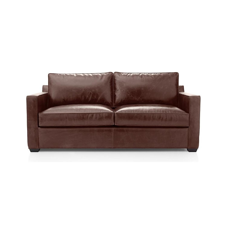 Crate & Barrel Davis Leather Full Sleeper Sofa - AptDeco