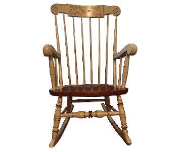 Ethan Allen Beige Windsor Wood Rocking Chair