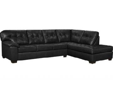 Rooms To Go Black Leather Sectional Couch