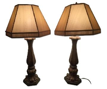 Bronze & Tan Shaded Table Lamps