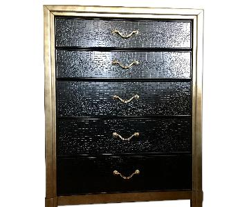 Wooden Dresser w/ Black Faux Croc & Gold Metallic Hardware