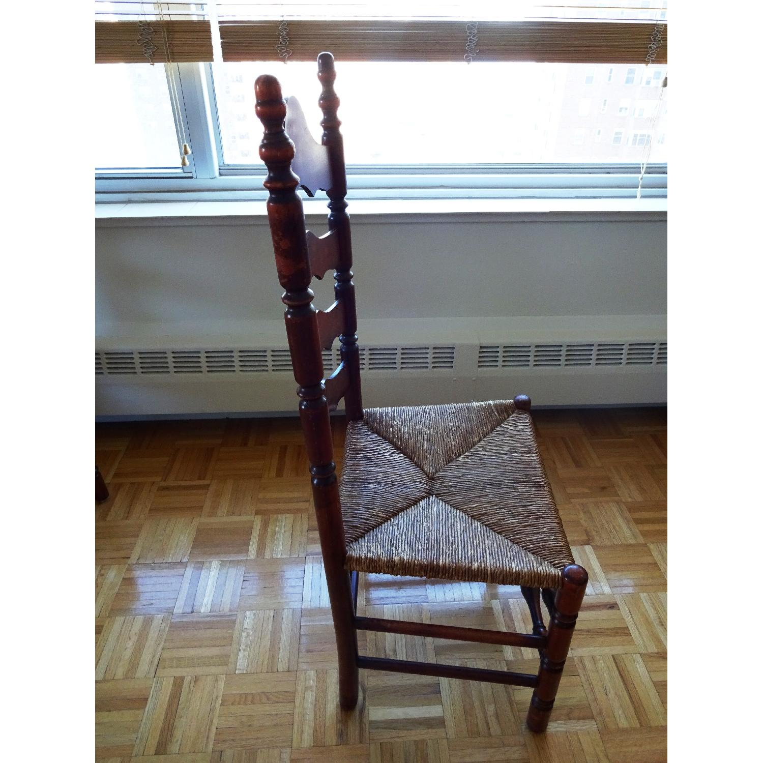 High back antique chairs -  Antique Vintage High Back Ladder Back Chairs W Rush Seats 2
