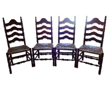 Antique Vintage High Back Ladder Back Chairs w/ Rush Seats