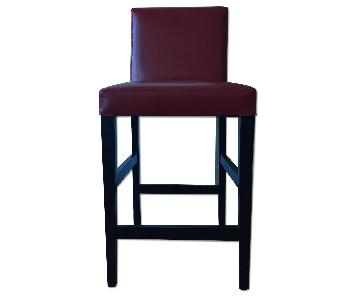 Crate & Barrel Lowe Red Leather Bar Stools