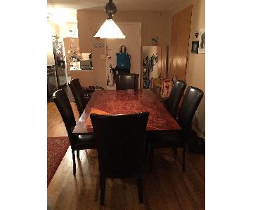 Deco Solid Wood Dining Table w/ 6 Leather Chairs