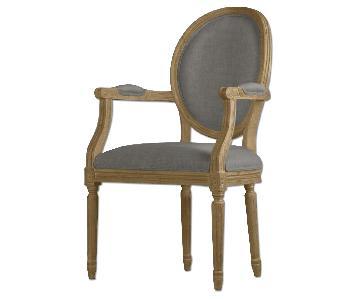 Restoration Hardware Vintage French Round Fabric Armchairs