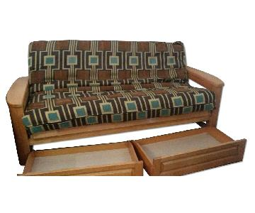 Wood Frame Sleeper Sofa w/ Storage