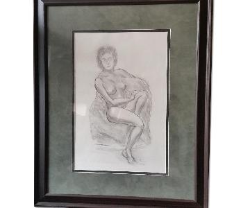 Dr.Paolo Soleri Original Charcoal Drawing - Nude Woman
