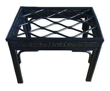 Hollywood Regency Black Rattan Table w/ Glass Top