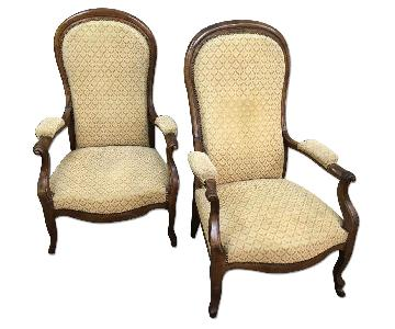 Vintage French Arm Chairs in Fauteuil Walnut