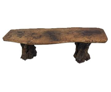 Rustic Swiss Petrified Oak Live Edge Bench/Coffee Table