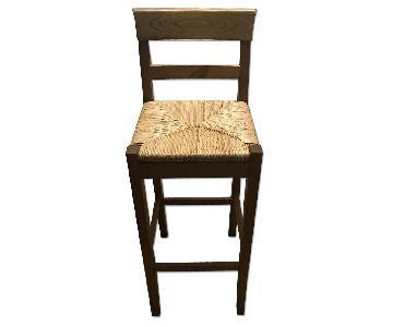 Pier 1 Brown Wooden Bar Stool w/ Woven Seat