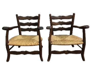 Antique French Countryside Captain's Chairs w/ Rush Seat