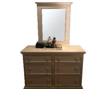 Custom Wood 6 Drawer Dresser w/ Detachable Mirror