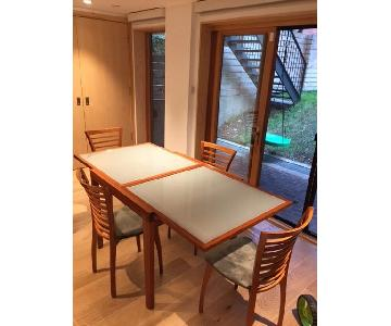 Extendable Glass Top Dining Table with Four Chairs