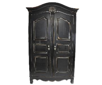 Thomasville French Black Distressed Storage Armoire