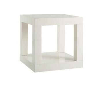 West Elm Parsons White Lacquer Cube Side Table