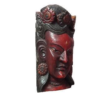 Vintage Nepalese Buddhist Folk Yoga Art Buddha Wood Mask