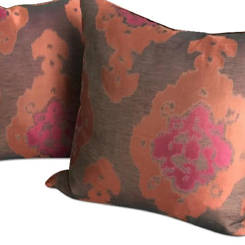 Used Lillian August Brown Multi Ikat Decorative Pillows for sale on AptDeco