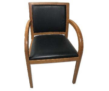 Geiger Brickel Cherry Wood & Leather Chairs