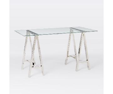 West Elm Glass Cross-Base Desk