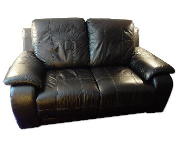 Raymour & Flanigan Leather Power Recliner Loveseat