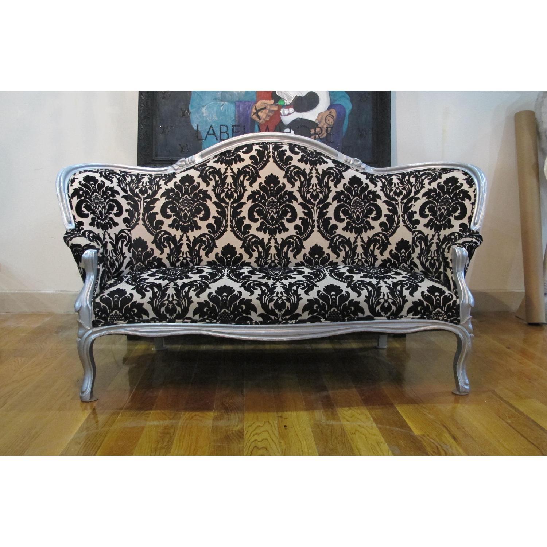 Antique Victorian Loveseat Custom Upholstered in Damask Prin-0