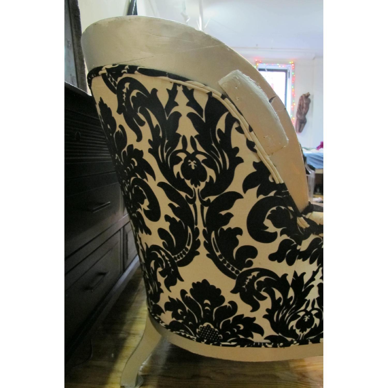 Antique Victorian Loveseat Custom Upholstered in Damask Prin-1
