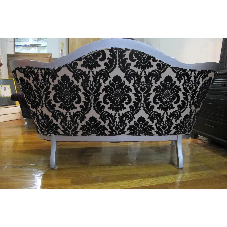 Antique Victorian Loveseat Custom Upholstered in Damask Prin-3