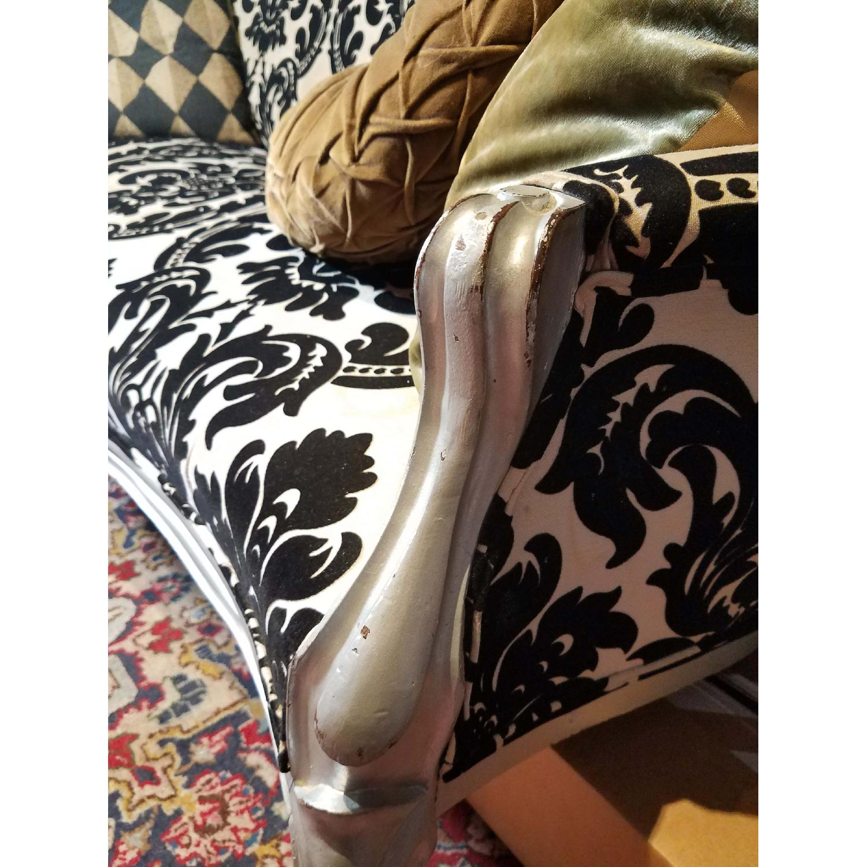 Antique Victorian Loveseat Custom Upholstered in Damask Prin-5