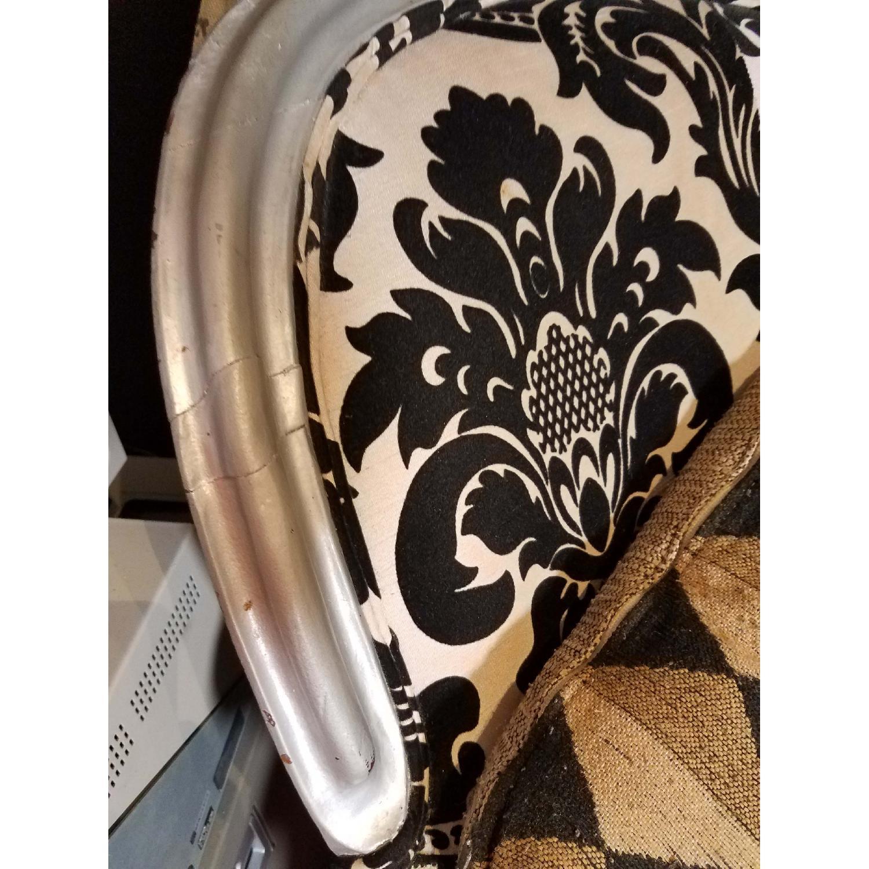 Antique Victorian Loveseat Custom Upholstered in Damask Prin-6