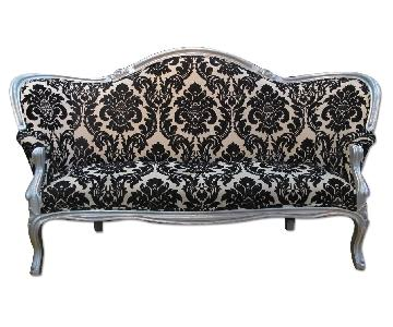 Antique Victorian Loveseat Custom Upholstered in Damask Prin