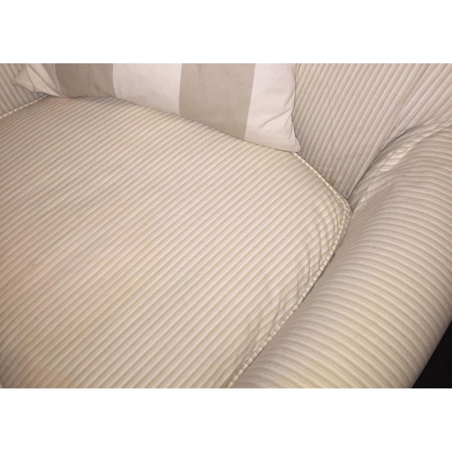 Crate & Barrel Avery Swivel Glider with w/ Pinstripe Slipcover-8
