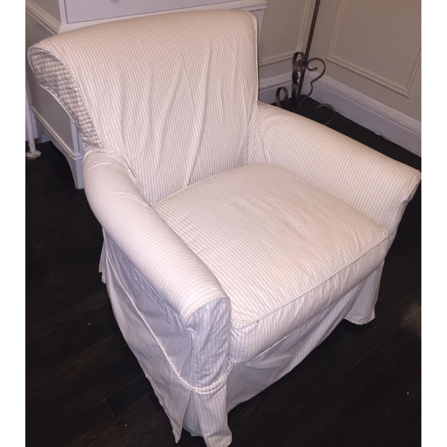 Crate & Barrel Avery Swivel Glider with w/ Pinstripe Slipcover-12