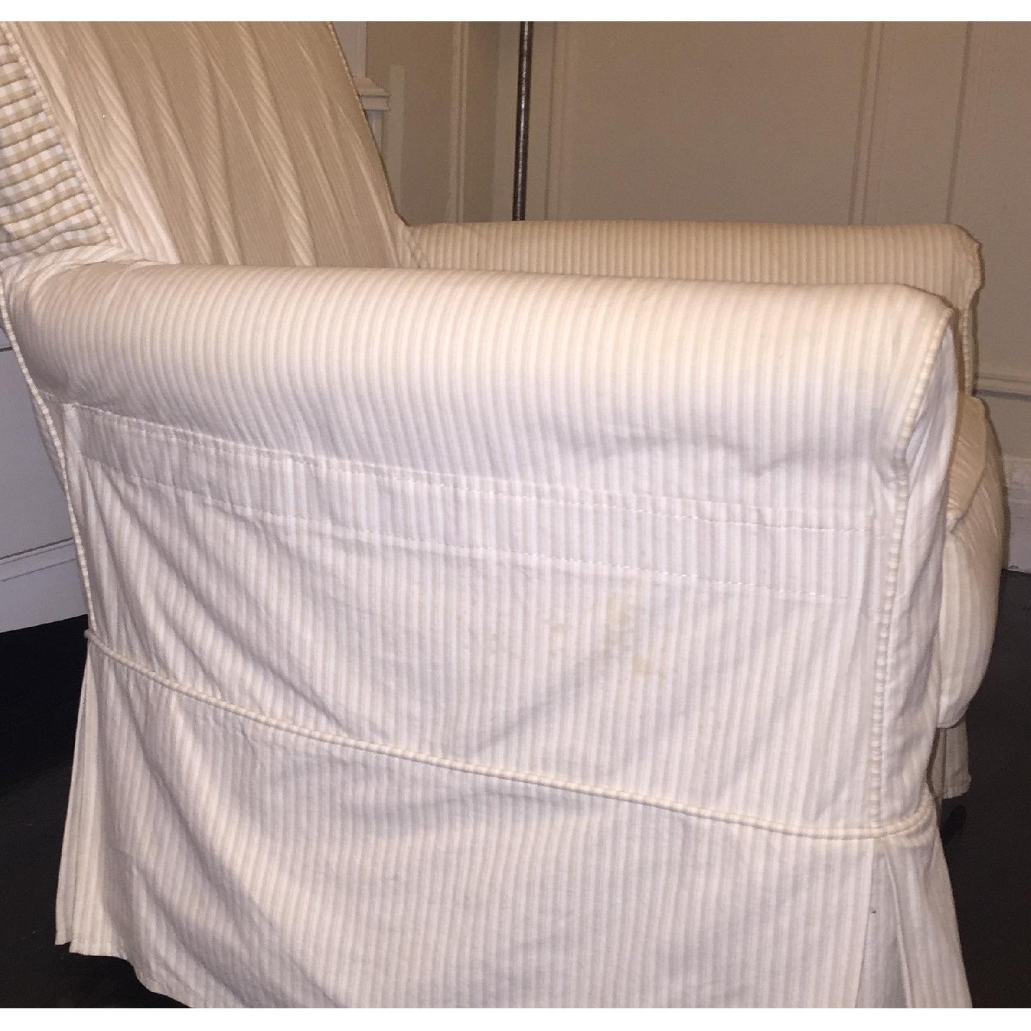 Crate & Barrel Avery Swivel Glider with w/ Pinstripe Slipcover-13
