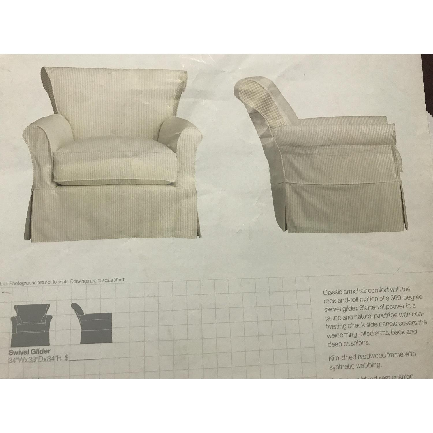 Crate & Barrel Avery Swivel Glider with w/ Pinstripe Slipcover-17