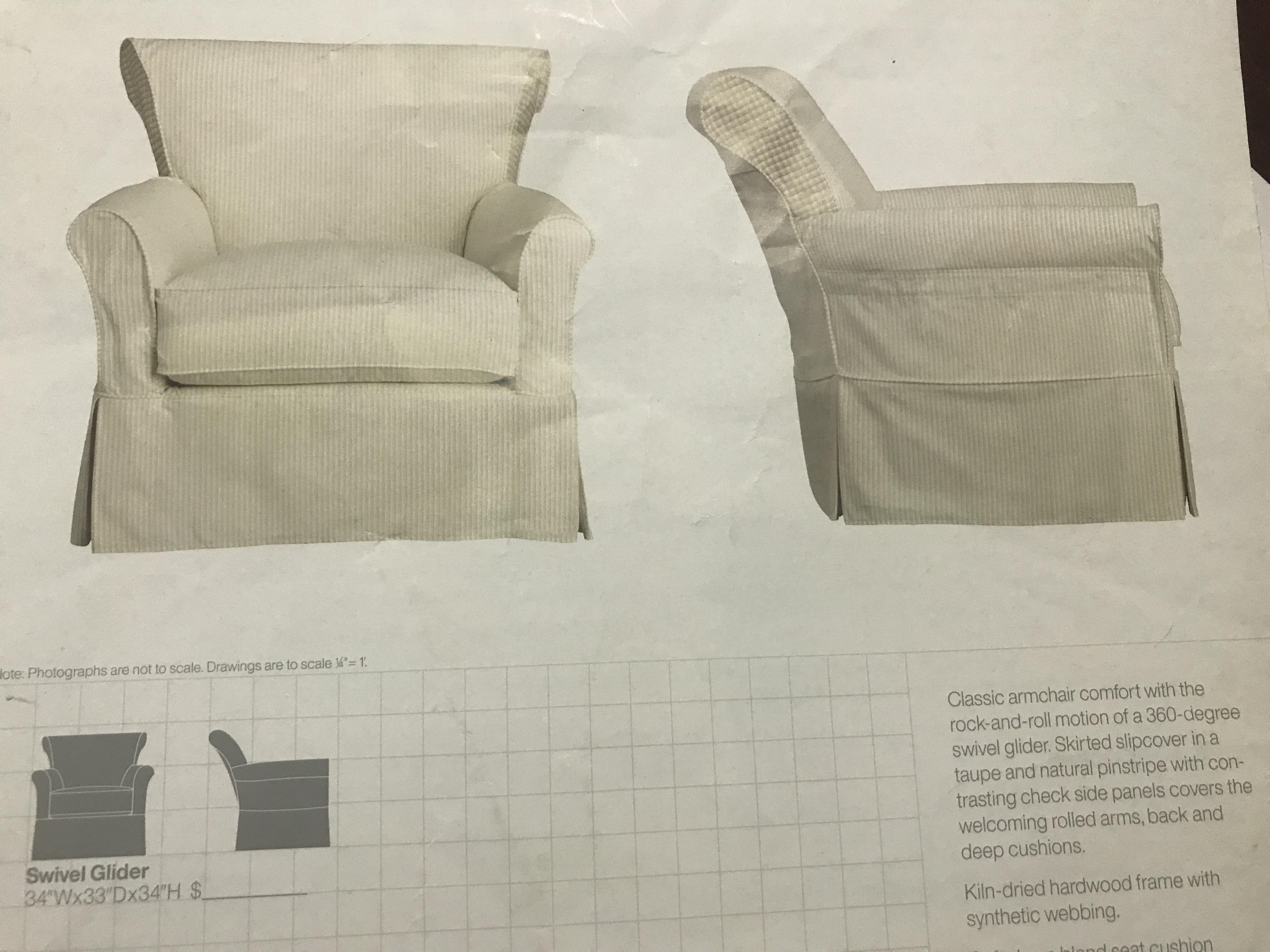 Crate & Barrel Avery Swivel Glider with w/ Pinstripe Slipcover