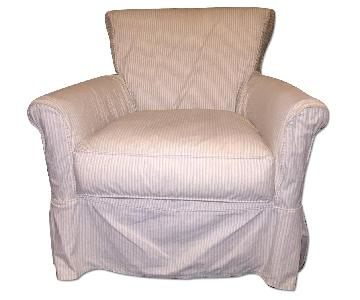 Crate U0026 Barrel Avery Swivel Glider With W/ Pinstripe Slipcover ...