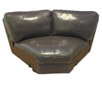 Raymour & Flanigan Carpenter Leather Wedge Sectional Piece