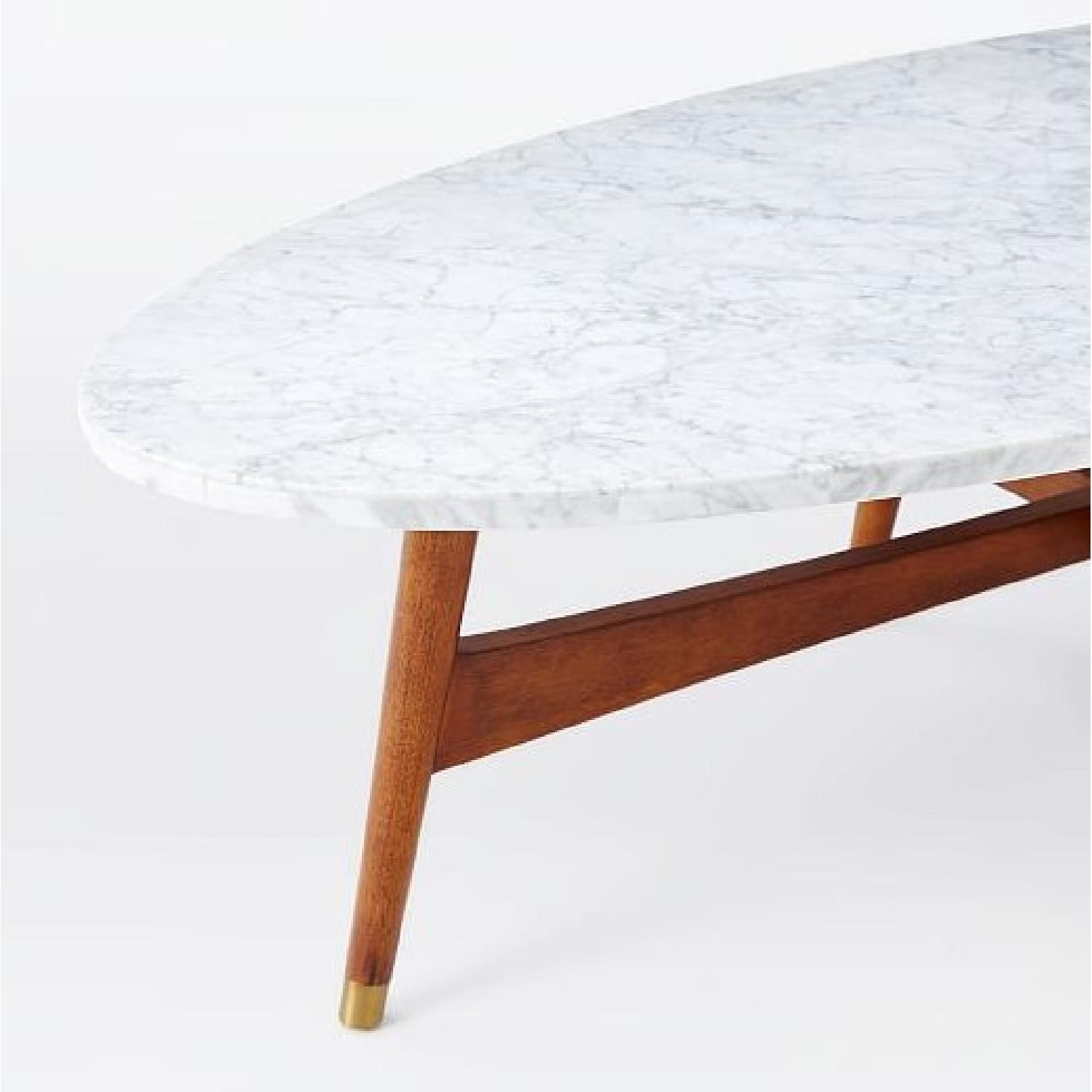 West Elm Reeve Mid Century Oval Coffee Table W Marble