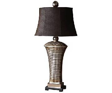 Uttermost Afton Antiqued Silver Champagne Table Lamps