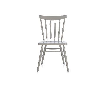Crate & Barrel Willa Wood Dining Chairs in Dove Grey - Set of 4