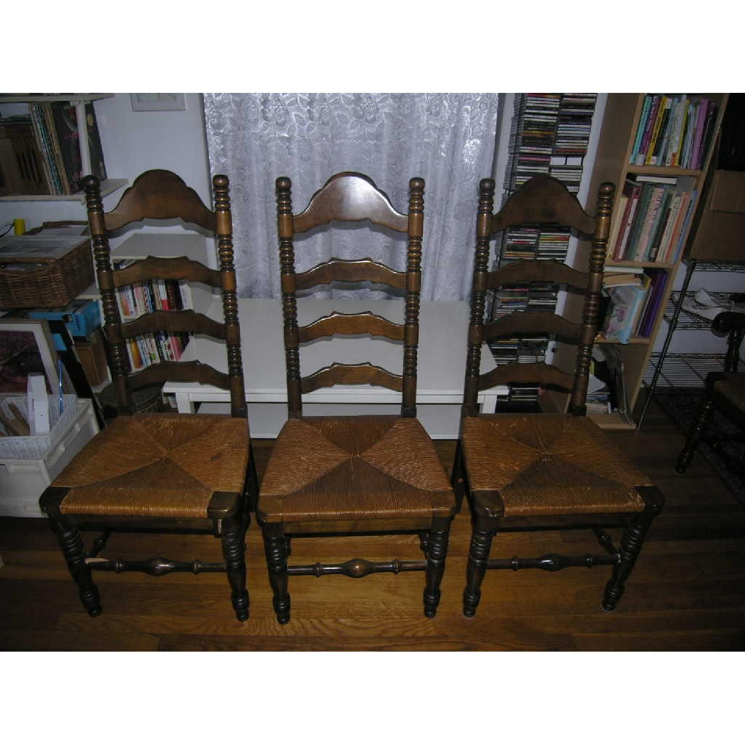 Ethan Allen Vintage Ladderback Rush Seat Chairs -Set of ...