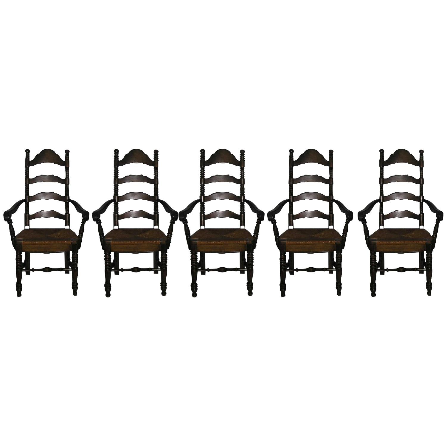 Ethan Allen Vintage Ladderback Rush Seat Chairs -Set of - AptDeco