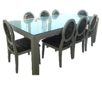 White Faux Leather Dining Table w/ 8 Matching Black/White Fabric Chairs